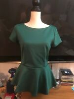 Bisou Bisou Michele Bohbot Women sz Small Green Ribbed Short Sleeve Blouse Top