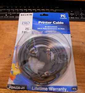 NEW Belkin F2A036-25 Bi-Directional DB25 Printer Parallel Cable