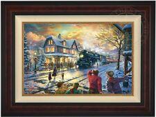"Thomas Kinkade All Aboard for Christmas 18"" x 27"" LE G/P Canvas (Burl Frame)"