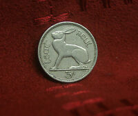 Ireland 3 Pence 1950 World Coin Irish Harp Hare Rabbit KM12a Eire three p