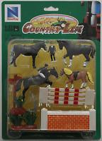 NewRay Country Life Set Turnierpferde Pferde Reiter Zubehör 1:32 Spur 1 Neu/OVP