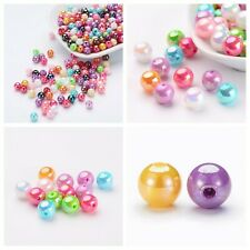 50-175+ Opaque AB Mixed Colors Acrylic Round Beads Jewelry Crafts 6-12mm USA