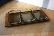 3 Servierschalen Rauchglas auf Teak-Tablett Danish Design 60er Schalenset