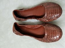 Tory Burch Snakeskin Water Snake Leather Eddie Ballet Flats Brown Foldable 6.5M