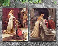 Leighton 11x14 art prints lot Accolade, God Speed medieval knight chivalry queen
