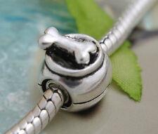 HANDMADE SILVER EUROPEAN Charm Bead for Bracelet H57 DOG BONE DISH FOOD PET