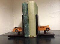 Vintage Pair Wood Antique Car Bookends