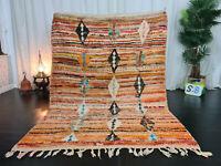 Boujaad Handmade Tribal Moroccan Rug 5'4x8'9 Berber Geomotric Orange Wool Carpet
