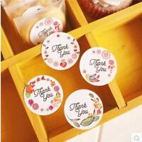 120x Gracias Pegatina con Diseño Flores Pegatinas de sello para regalo de fie Np