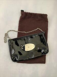 MULBERRY BLACK PATENT CHARLIE EVENING SHOULDER CLUTCH BAG | USED