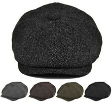 Classic Men's Herringbone Newsboy Hat Wool Applejack Gatsby Driving Cap
