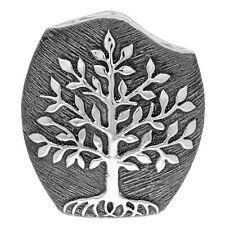 Tree of Life Modern Flower Vase Gunmetal Grey Silver Decor