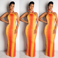 US New Womens Printed Halter Sleeveless Backless Summer Party Maxi Bodycon Dress