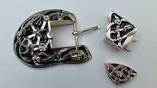 Fibbia per cintura Barry Kieselstein Cord New York - argento sterling e smalto