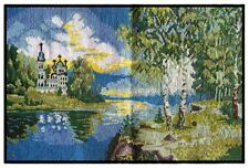 """Embroidered-Picture-Crewel-Needle-Cross-Embroidered """"Church in Birch Grove"""""""