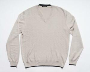 Stefano Ricci Beige Cashmere Silk Geometric Knit V-Neck Sweater 54 IT XL