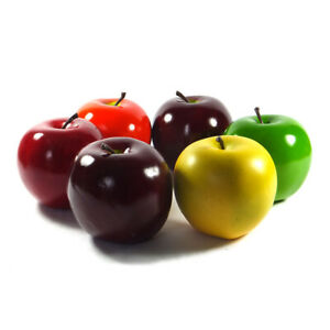 Artificial Apple Extra-large 3.75-in Round Apples Fake Fruit Red Green Color