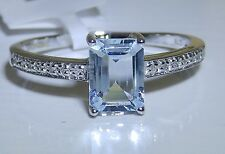 ART DECO 9CT WHITE GOLD OVAL  0.8CT AQUAMARINE  DIAMOND SINGLE STONE RING