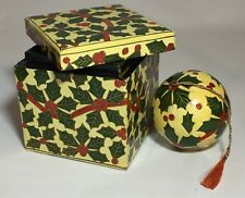 Christmas Ornament in Matching Wood Box Made in India Holly Berry and Leaves