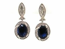 5.02 CT Natural Iolite & Diamond Earrings for Evening & Everyday VS2/F 14K Gold