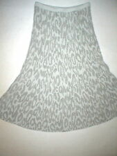 NWT $395 Womens New Theory Leopard Skirt Warm Wool Cold Gray Off White Long S