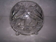 """LEAD CRYSTAL CUT GLASS VASE 8"""" TALL X 8 """" 3 FOOTED WIDE PERFECT CONDITION  #419"""