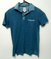 Lee Cooper Mens Shirt Size S Slim Fit Blue Short Sleeve Polo Collared Casual