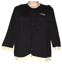 Chanel Parfums Black With Off White Trim Sz M/L Cardigan Sweater Staff Uniform