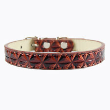Diamond Pattern Dog Collar Small Brown. Puppy Labrador Retriever Scottie Terrier