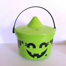 McDonalds Neon Witch Candy Bucket Pail Green Plastic Halloween Toy Vintage 80s