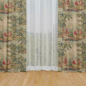 Carolina Linens Rod Pocket Curtains in Bosporus Antique Red Renaissance Toile