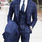 Men's Blue Suits Check Formal Groom Wedding Wide Peak Lapel Suit Tuxedos