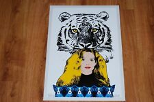 George Rodrigue Blue Dog Tiger Paws White Silkscreen Print Signed Numbered Art
