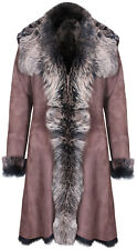 Brown Ladies Women's Real Toscana Sheepskin Leather Suede Jacket Trench Coat