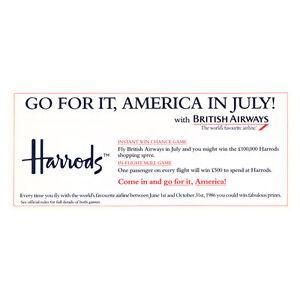 British Airways - Harrods - Línea Aérea Publicidad Panfleto - Junio A Octubre