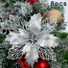 6Pcs Artificial Glitter Christmas Flowers Christmas Tree Ornaments Floral Decor