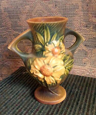 "Roseville Yellow Peony Vase Brown/Tan Background 168-6"" Dbl Handle ~ Green Base"