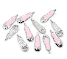 10 Pink Ballet Shoe Slipper Pump Charms Pendants Antique Silver Tone 22mm J10437