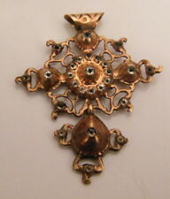 Croix or rose drille ou pierres strass Normandie-18th century gold cross,n°LS872