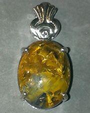 Genuine pietersite and white topaz pendant and .925 chain SITE CLOSING SALE
