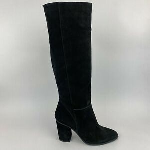 Office London 38 US7 UK5 Black Leather Suede Knee High Pull On Block Heels Boots