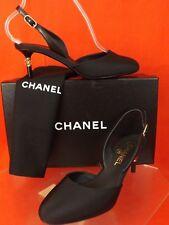 18p CHANEL G33704 Black Grosgrain Leather Gold CC Heel Slingback PUMPS 39.5