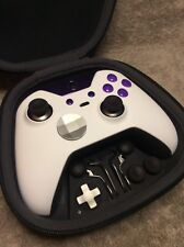 Elite Xbox One 1 Controller - Custom WHITE SHELL,PURPLE Led,Buttons,ABXY Letters