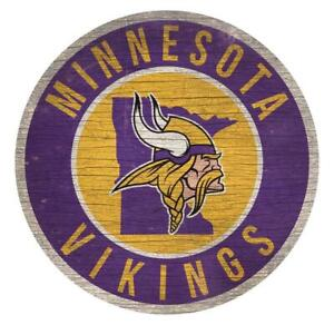 Minnesota Vikings 12 Inch Wood Sign Round State Design  [NEW] NFL Cave Wall