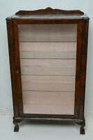Art Deco Walnut veneered display cabinet. Ball & claw feet. Etched glass door