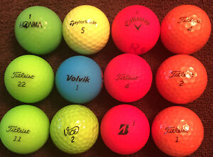 Mixed Lot of 12 used Colored Golf Balls: Callaway-Volvik-Titleist-Vice & More