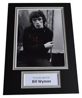 Bill Wyman Signed Autograph A4 photo display Rolling Stones Music AFTAL & COA
