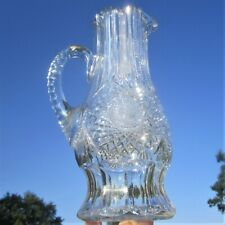 ANTIQUE AMERICAN BRILLIANT PERIOD LARGE FANCY CUT GLASS PITCHER TALL FLOWER VASE