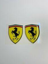 "3D Ferrari logo badge emblem Decal Domed Raised 2"" x 1.5"" (1 Pair)"