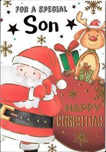 CHRISTMAS CARD FOR A SPECIAL SON - SANTA, REINDEER, SACK, PRESENTS